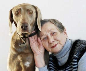 senior woman and dog