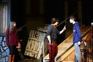 Fantine (Sandy Durst), Jean Valjean (Max Herman) and Javert (Dylan Eliassof) rehearse for the show.