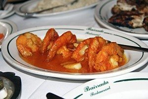 Bairrada puts flame to food with garlic shrimp (pictured), steaks, kabobs and more.