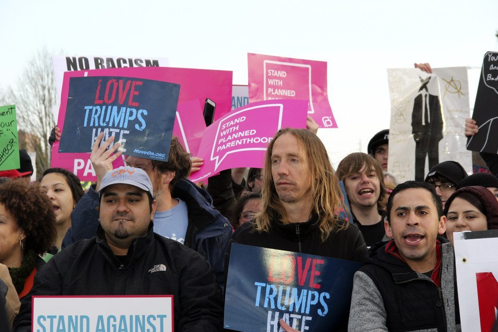 Protesters gather against Trump.