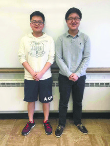 From left: Students Ben Rhee and Philip Jang have been recognized for their high scores in the U.S. National Chemistry Olympiad and the 2016 USA Biology Olympiad competition.