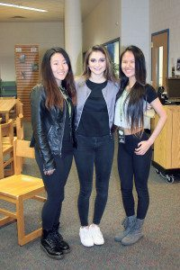 Daya (center) visited Jericho High School after Jackson Elementary School won the Radio Disney Music in Our Schools contest.