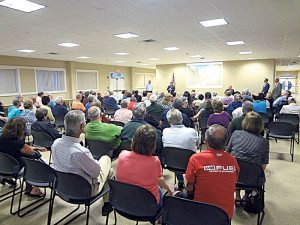 The Hicksville Community Center was jam-packed with local residents for the presentation on the proposed future of the Sears property.