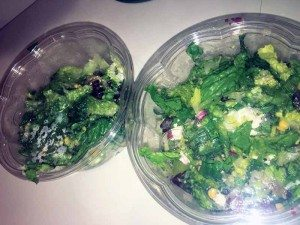 Custom salads with romaine lettuce, corn, feta cheese, beets, avocado and spicy Mexican Goddess dressing.