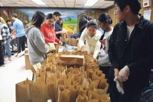 Students were successful in bagging more than 300 lunches.
